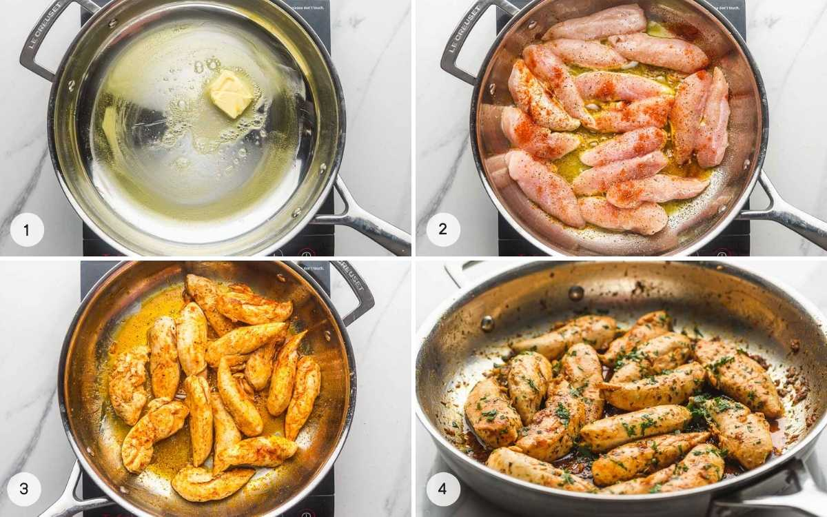 A collage with 4 images on how to cook chicken tenders