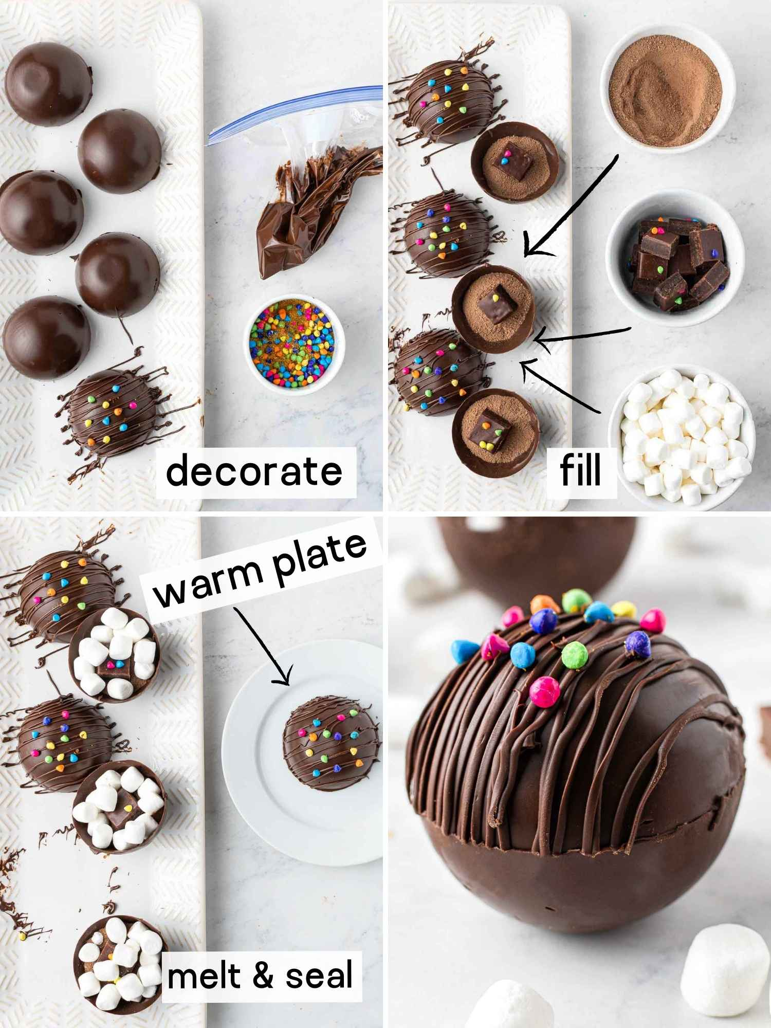 A collage with 4 images on how to make cocoa bombs
