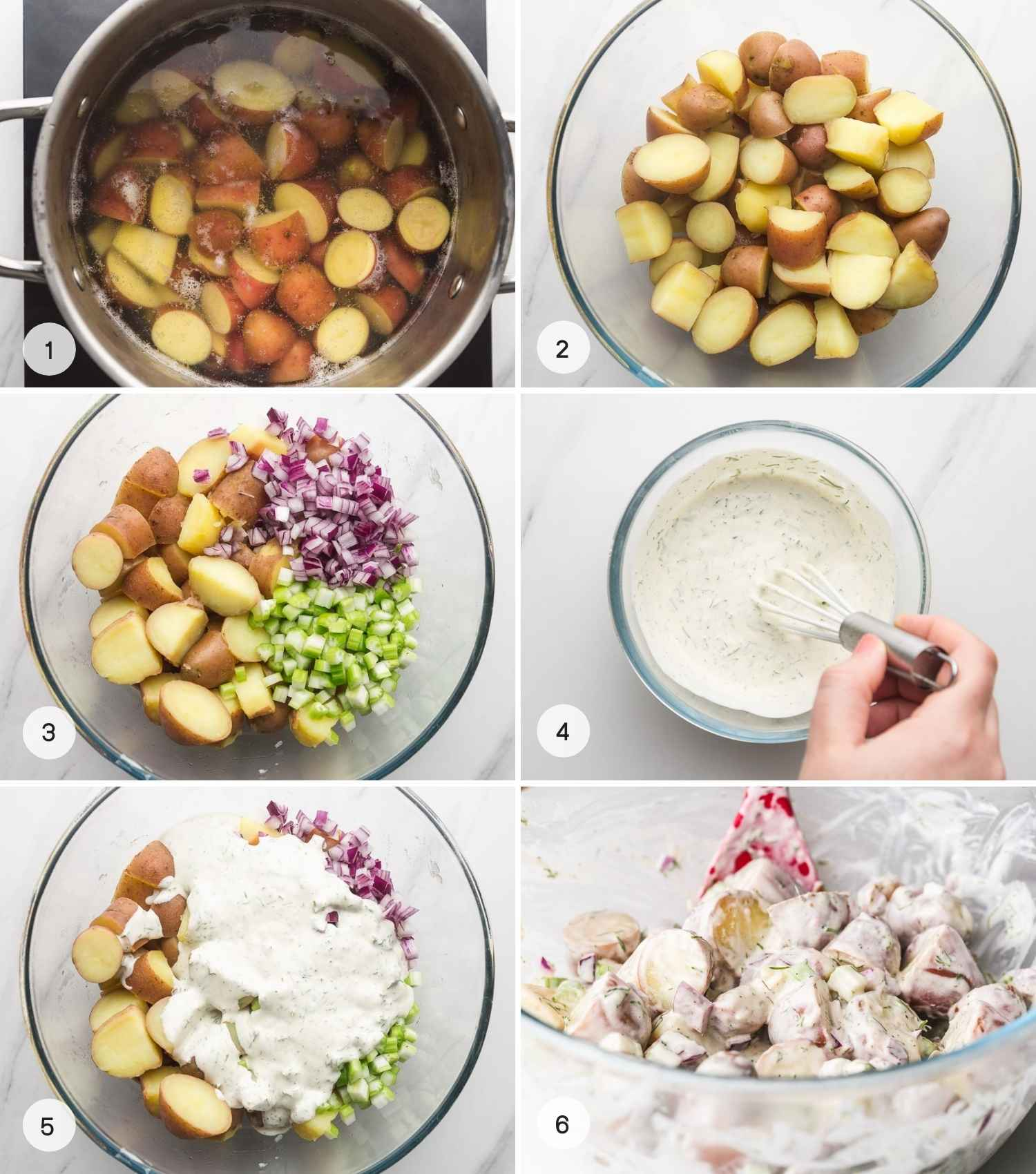 A collage with 6 images on how to make red potato salad with its dressing.