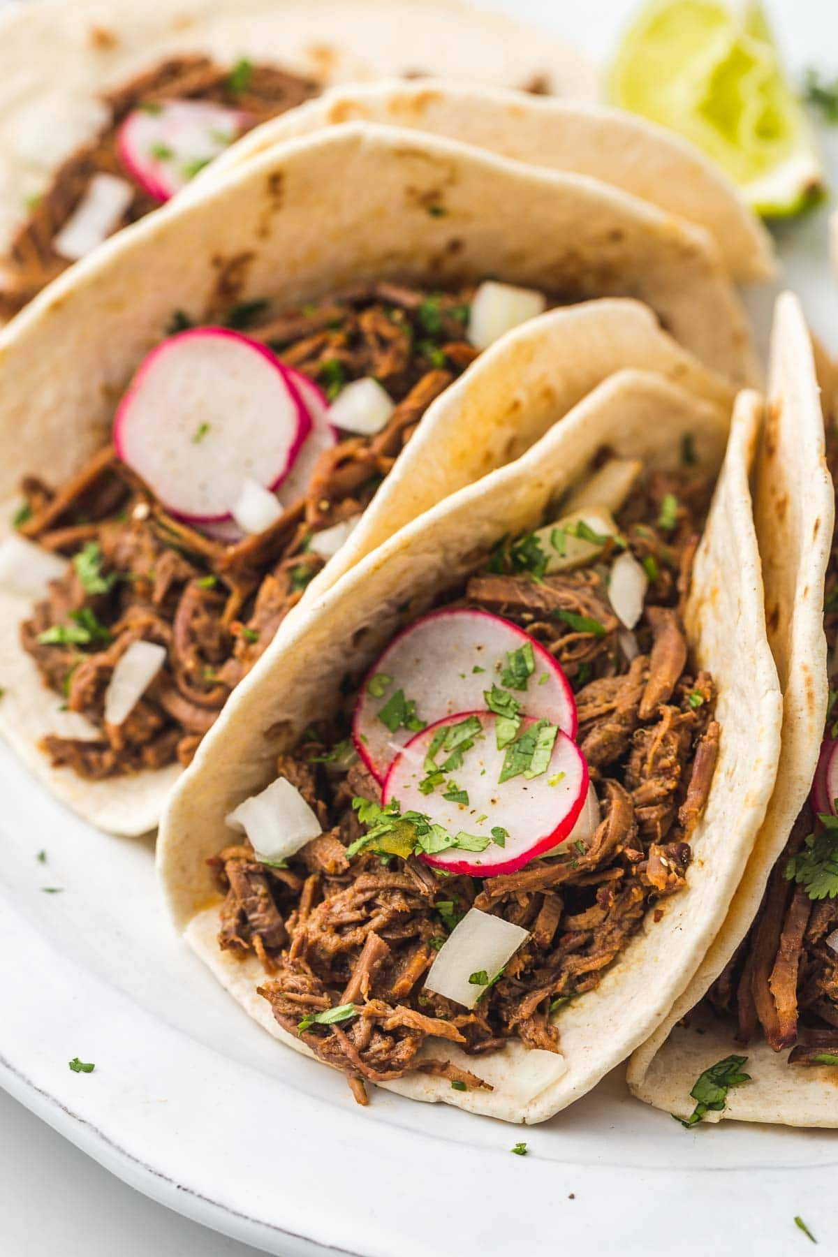 Instant Pot Barbacoa Beef tacos with onion, radish, and parsley.