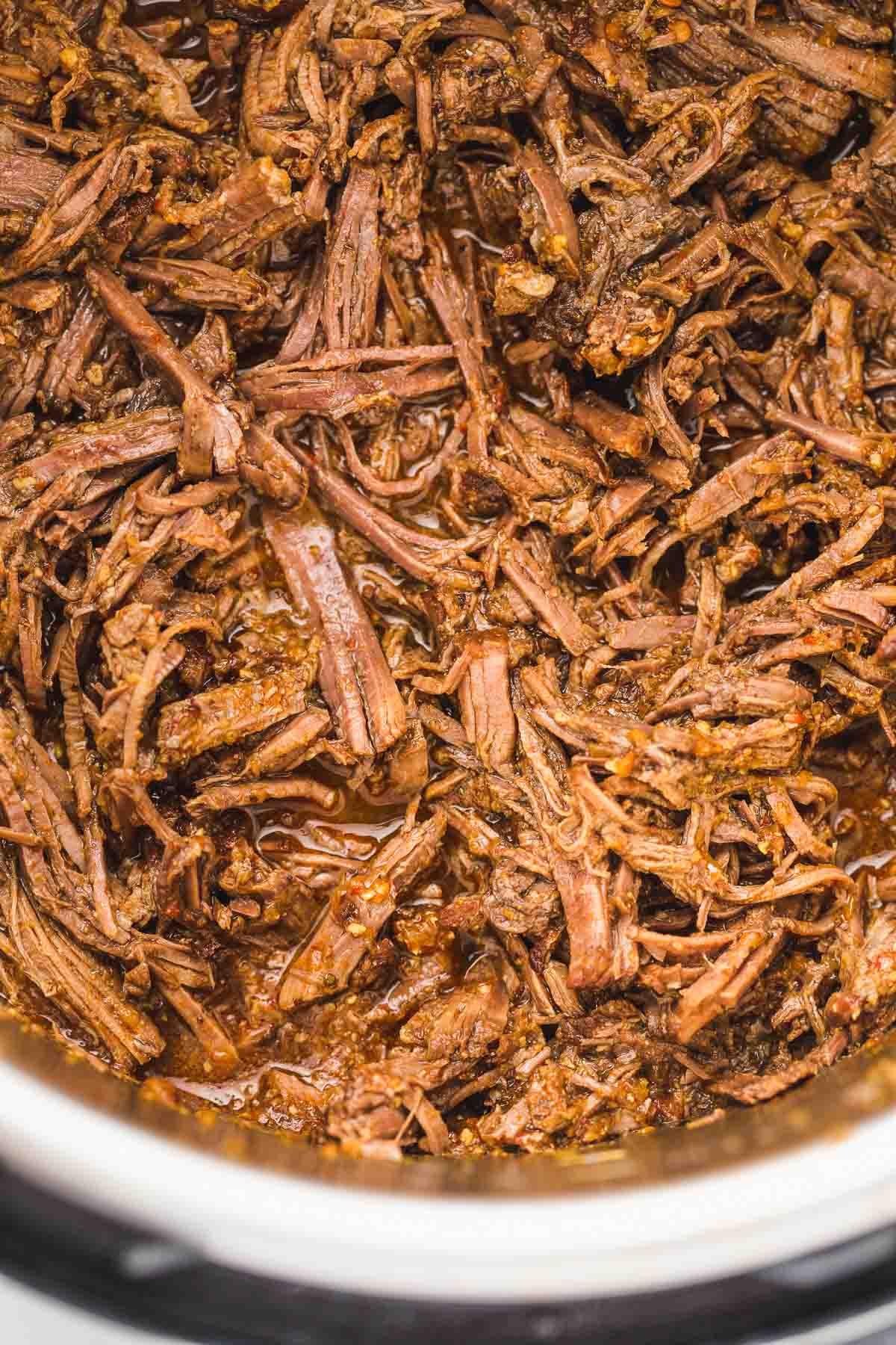 Shredded barbacoa in the Instant Pot