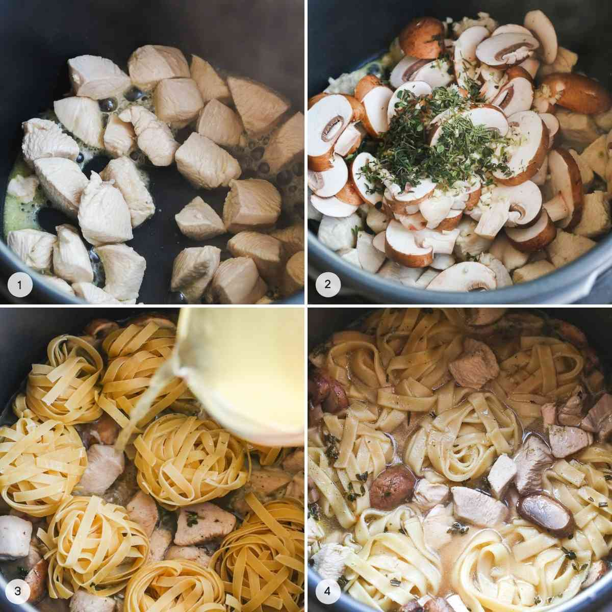 A collage with 4 images on how to make Instant Pot Chicken Alfredo Pasta