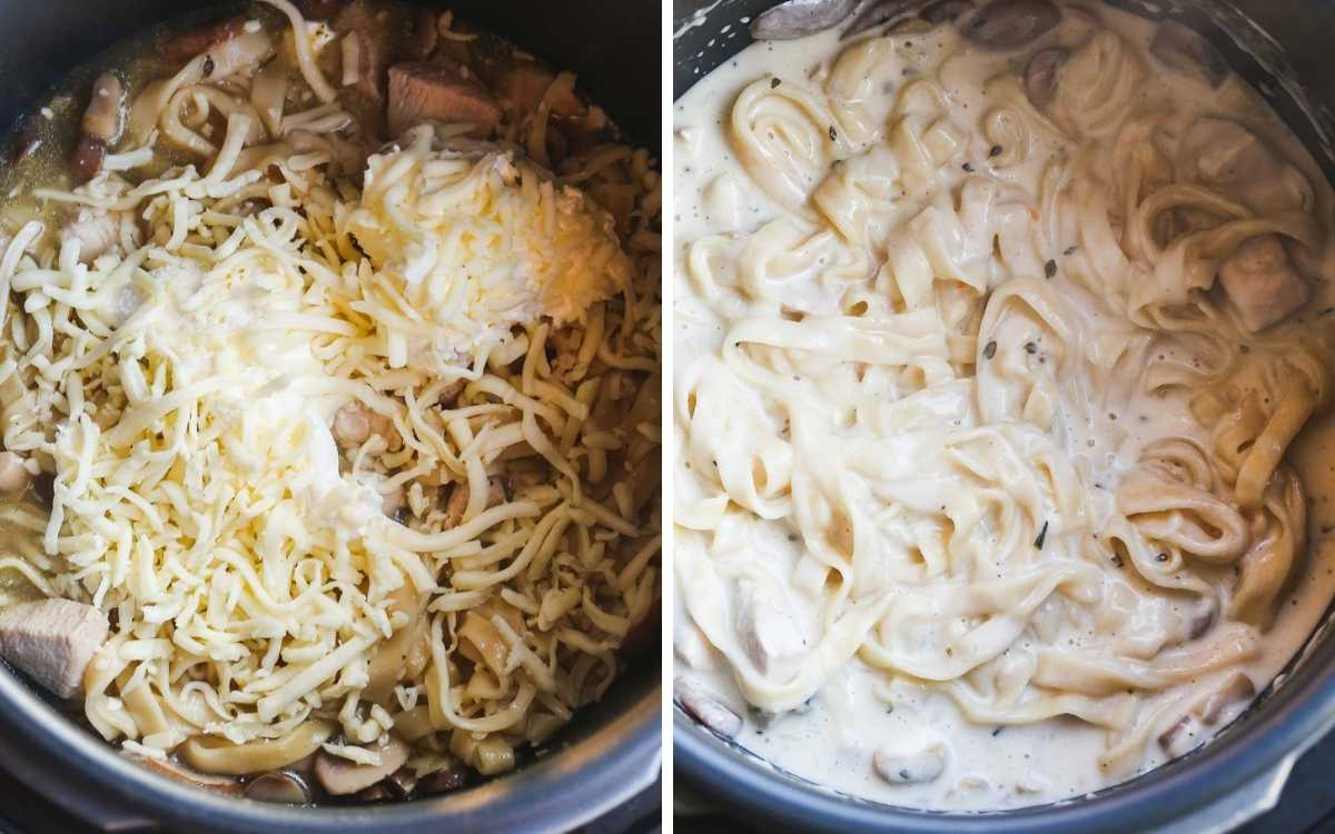 A collage with 2 images, how to mix in the cream cheese and mozzarella.
