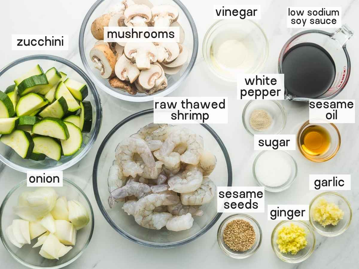 Ingredients needed to make Instant Pot Hibachi Shrimp