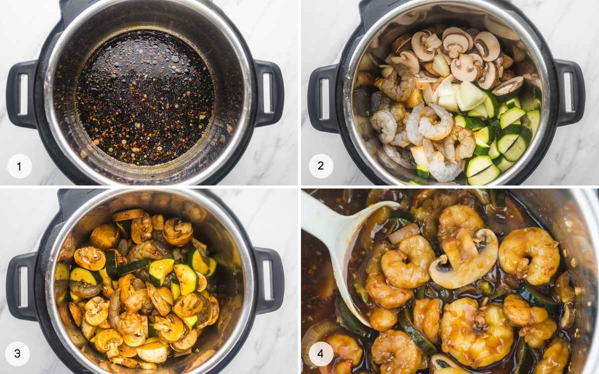 A collage with 4 images on how to cook hibachi shrimp in the Instant Pot