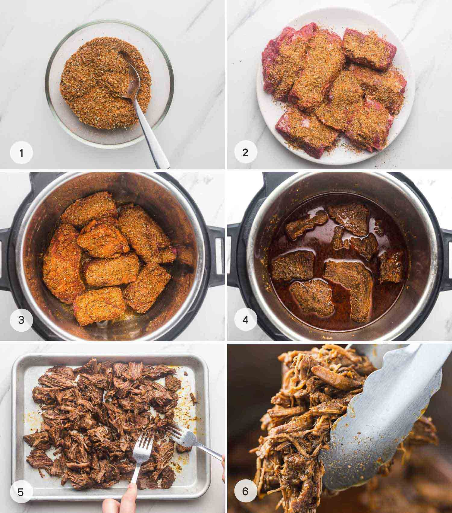 A collage with 6 images on how to make Mexican shredded beef