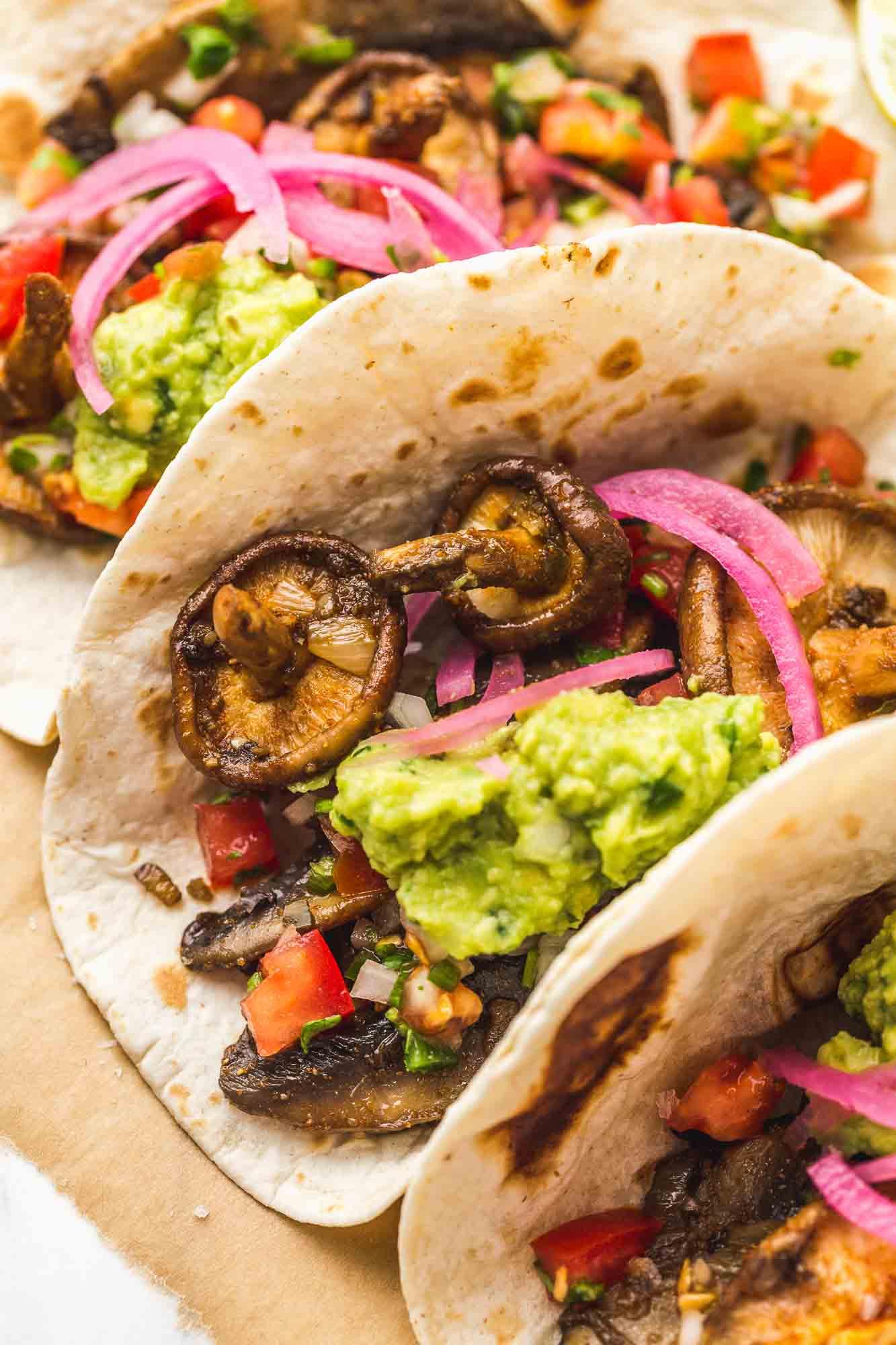 An angle shot of a mushroom taco