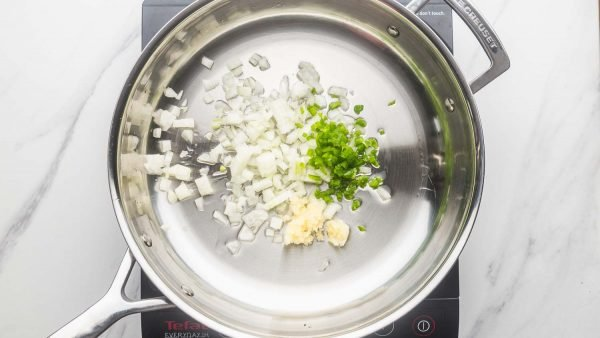 Sauteeing aromatics in a skillet