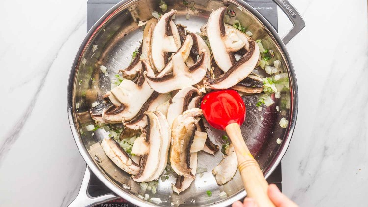 Saute sliced mushrooms