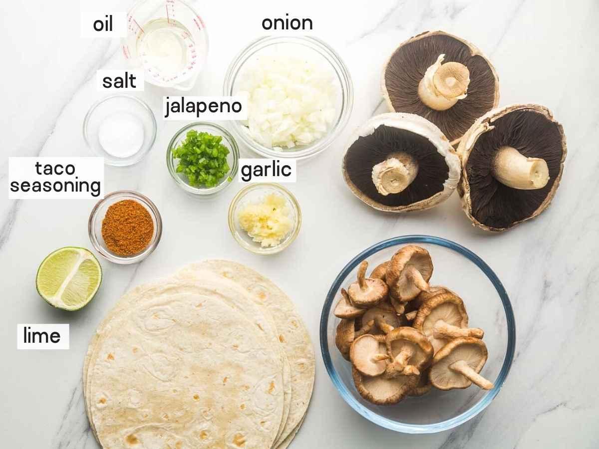 Ingredients needed to make mushroom tacos
