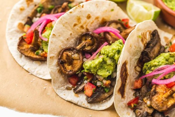 mushroom tacos with all the toppings
