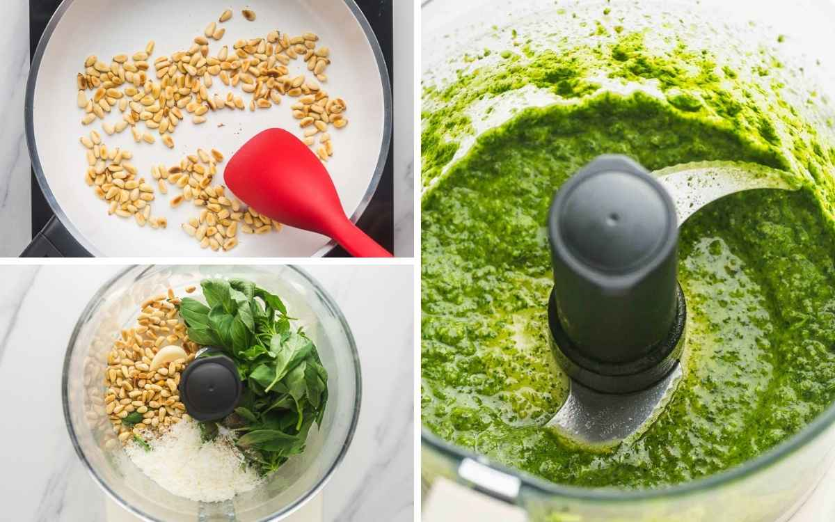 A collage with 3 images on how to make pesto in a food processor