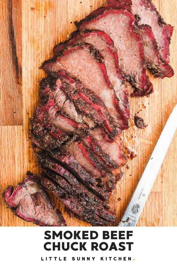 Smoked beef chuck roast pinnable image