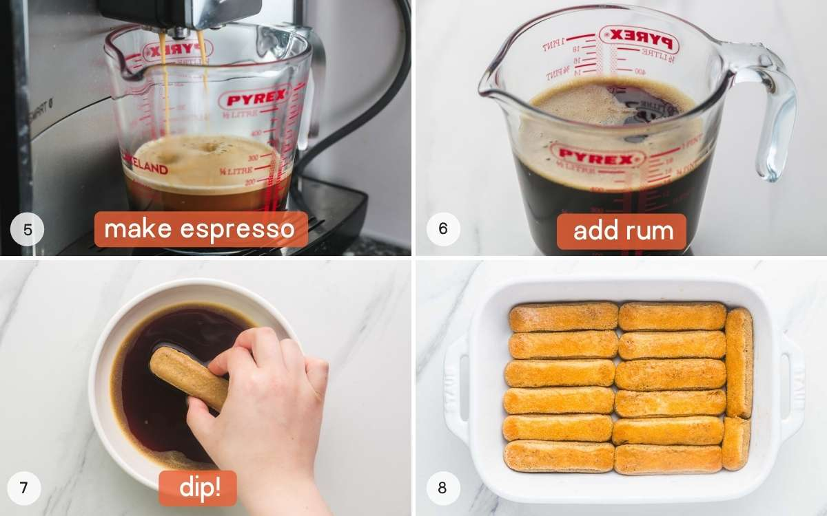 A collage of 4 images on how to make the espresso and dip the ladyfinger biscuits.