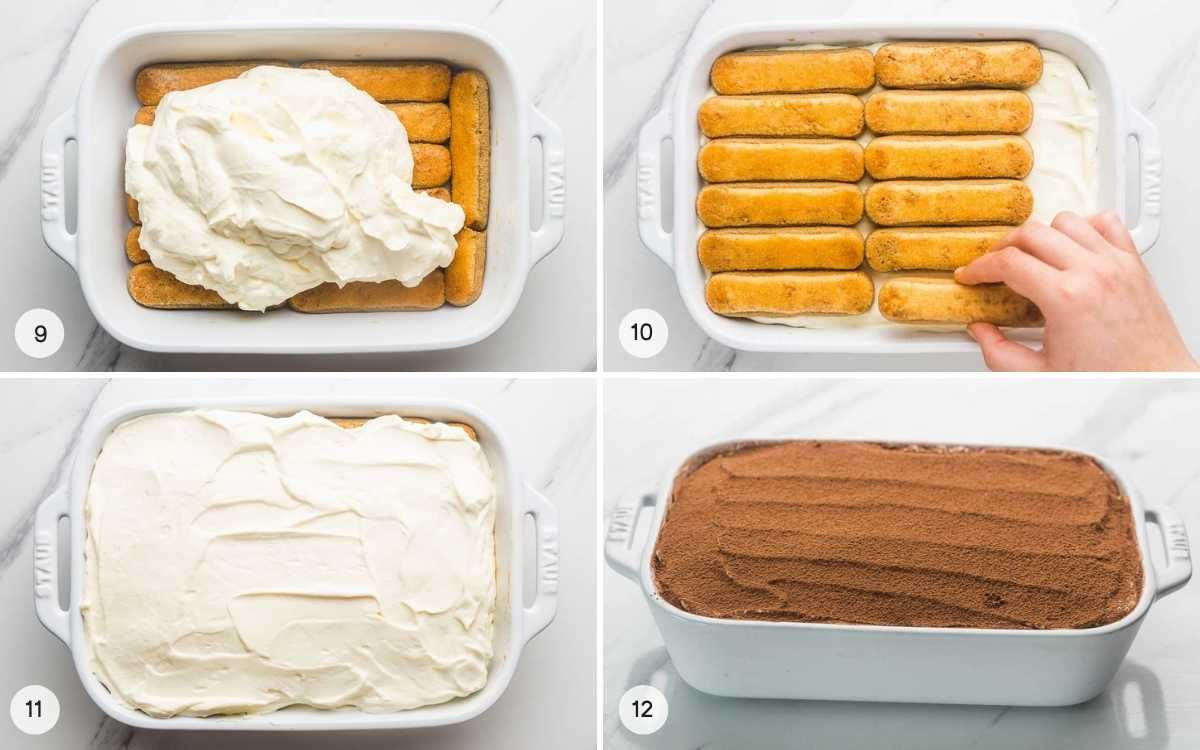 A collage of 4 images on how to assemble the layers of the tiramisu