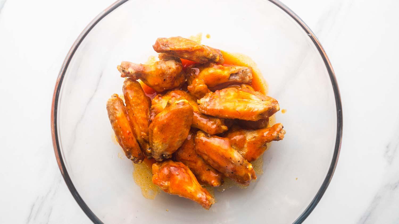 Chicken wings tossed in buffalo sauce