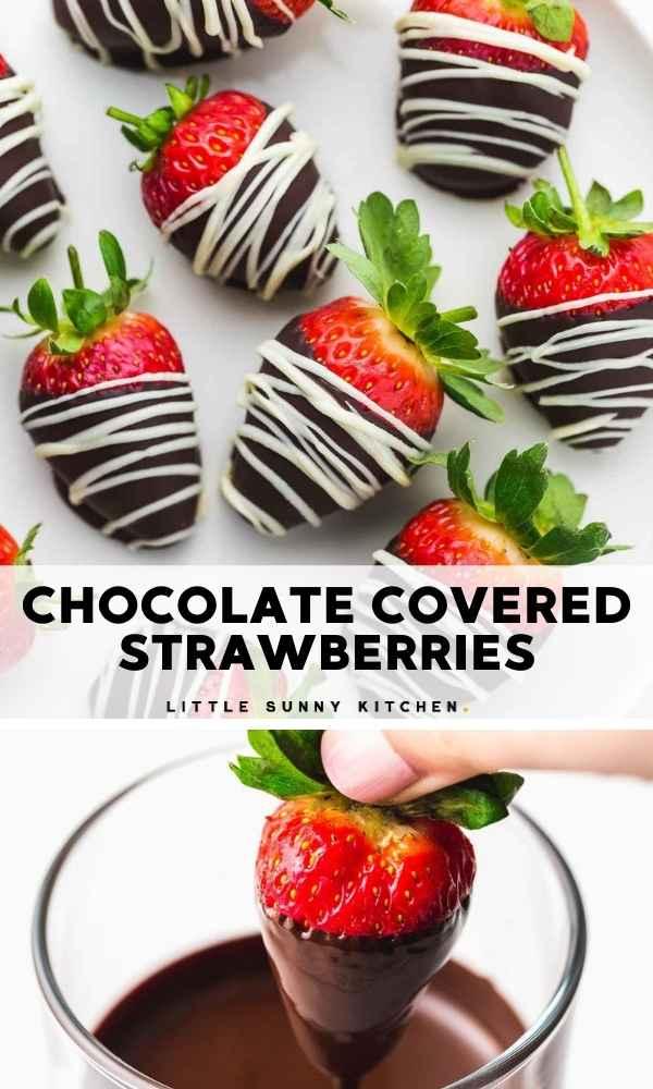 Chocolate covered strawberries Pinnable image