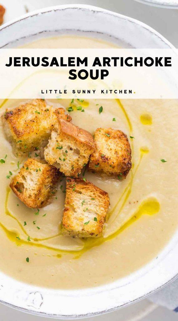 Creamy Jerusalem Artichoke soup Pinnable image