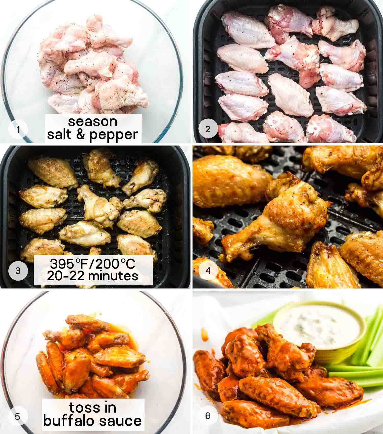 A collage with 6 images on how to cook chicken wings in the air fryer then toss in buffalo sauce