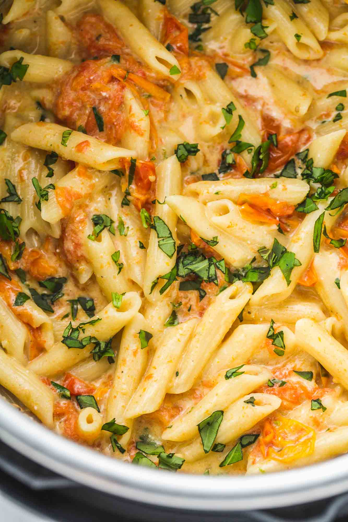 Feta pasta in the Instant Pot with fresh basil