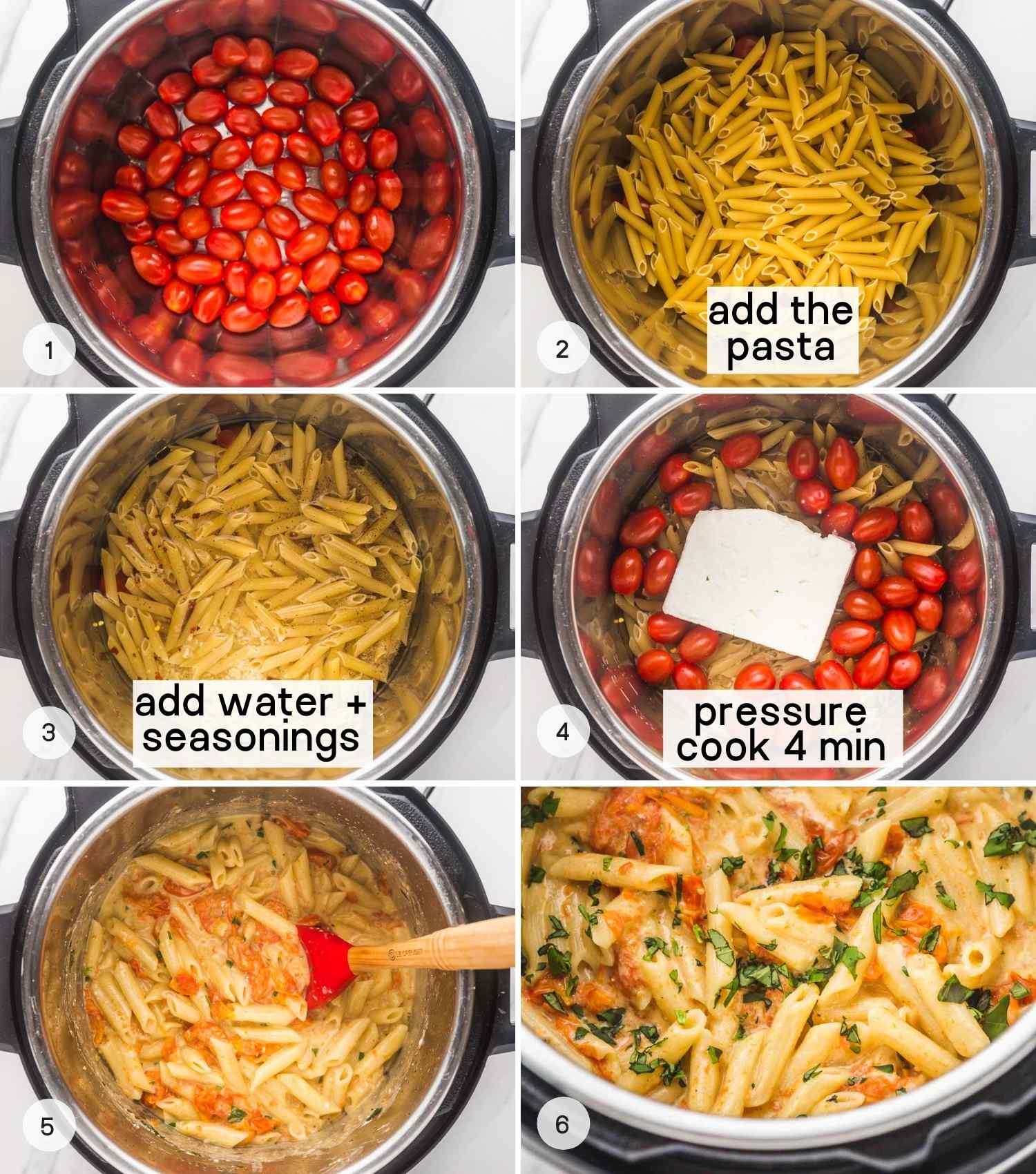 6 images in a collage how to make feta pasta in the instant pot