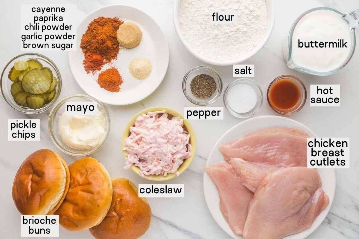 Ingredients needed to make Nashville-Style Hot Chicken Sandwiches