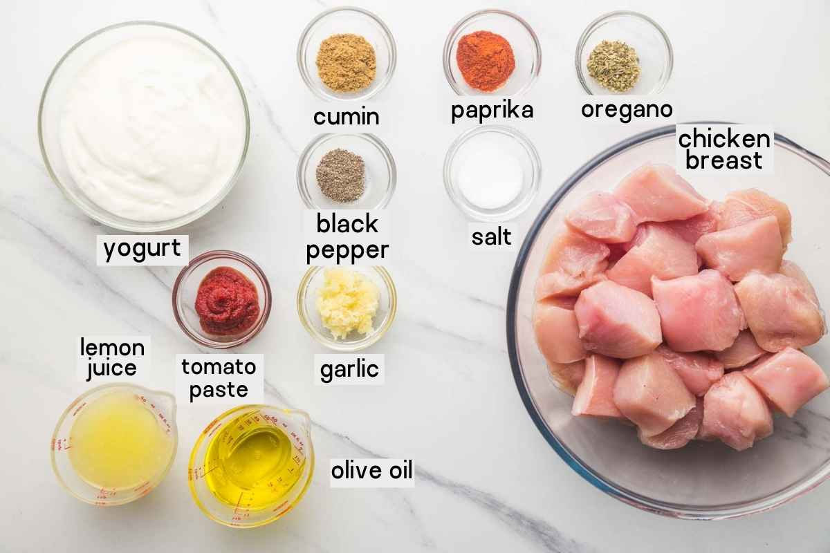 Ingredients needed to make Shish Tawook