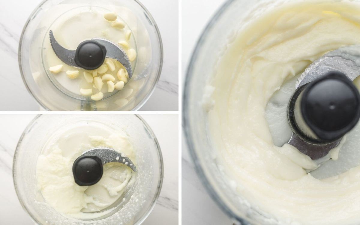 A collage with 3 images on how to make garlic sauce in a food processor