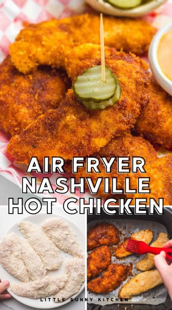 Air Fryer Nashville Hot Chicken pinnable image