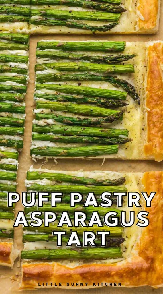 Puff pastry asparagus tart pinnable image