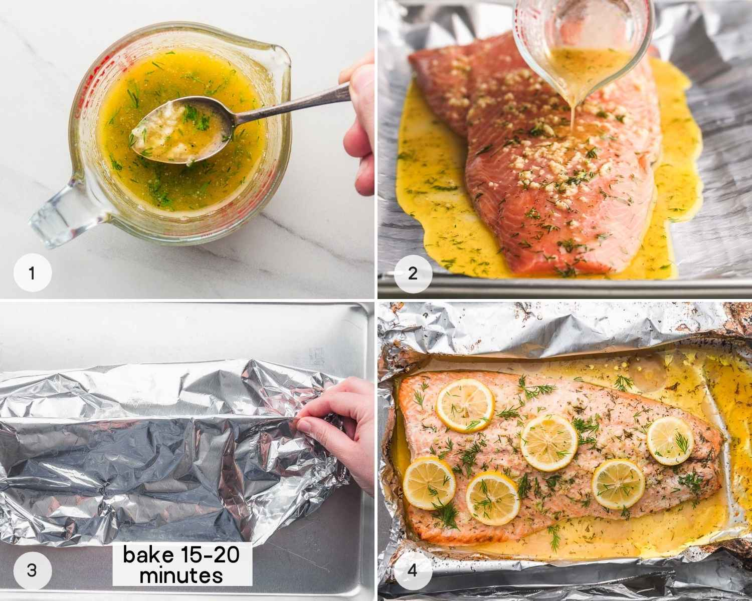 How to make salmon, a collage with 4 images including how to make the garlic butter sauce, drizzling the sauce over the salmon, creating the foil packet, and baking the salmon.