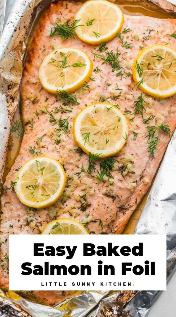 Baked salmon in foil pinnable image