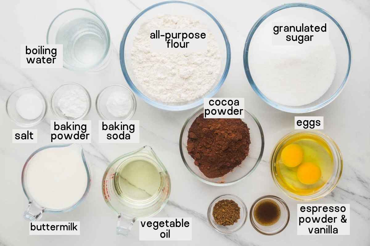 Ingredients needed to make a chocolate cake