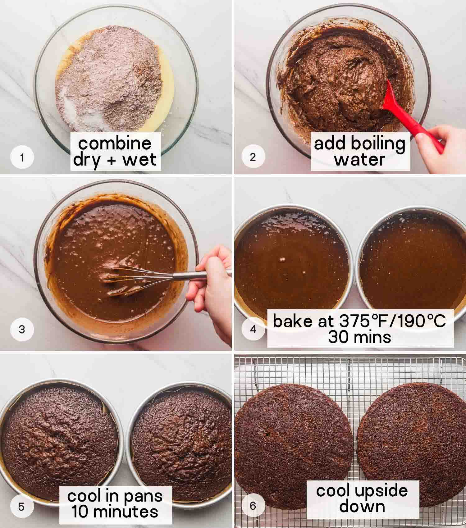 How to bake a chocolate cake, a collage with 6 images.