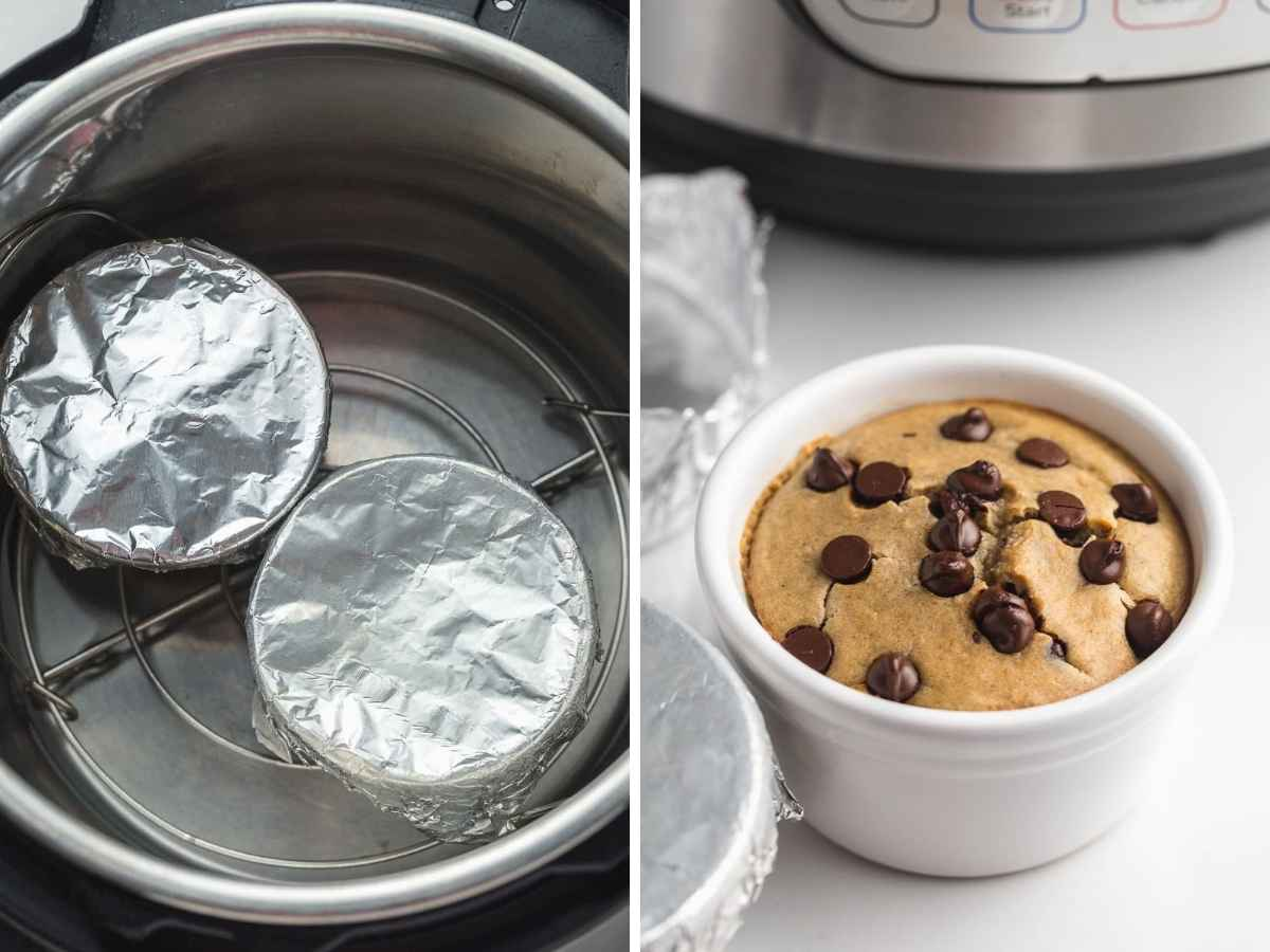 A collage with 2 images to make baked oats in the Instant Pot.