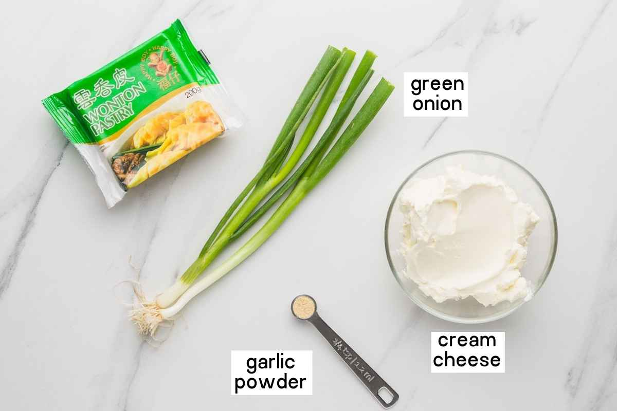 Ingredients needed to make crispy cream cheese wontons