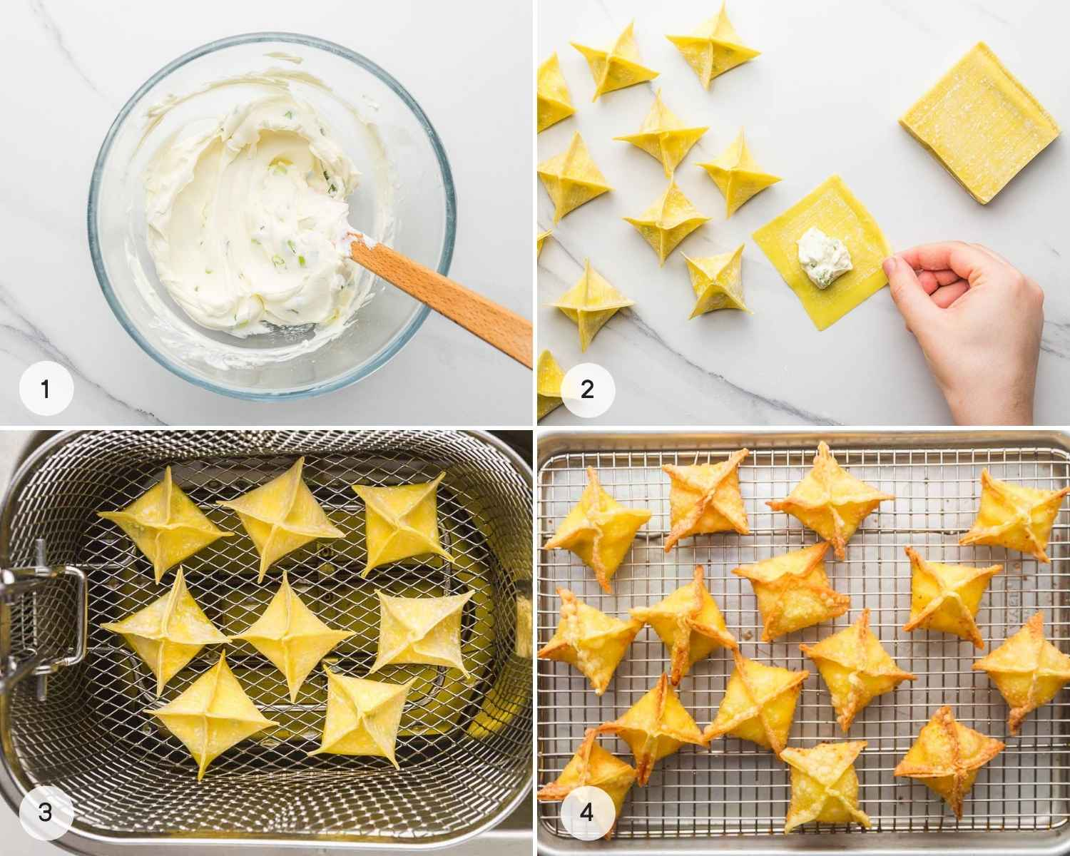 A collage with 4 images showing how to make rangoons, from making the mixture to filling the wontons and frying them.