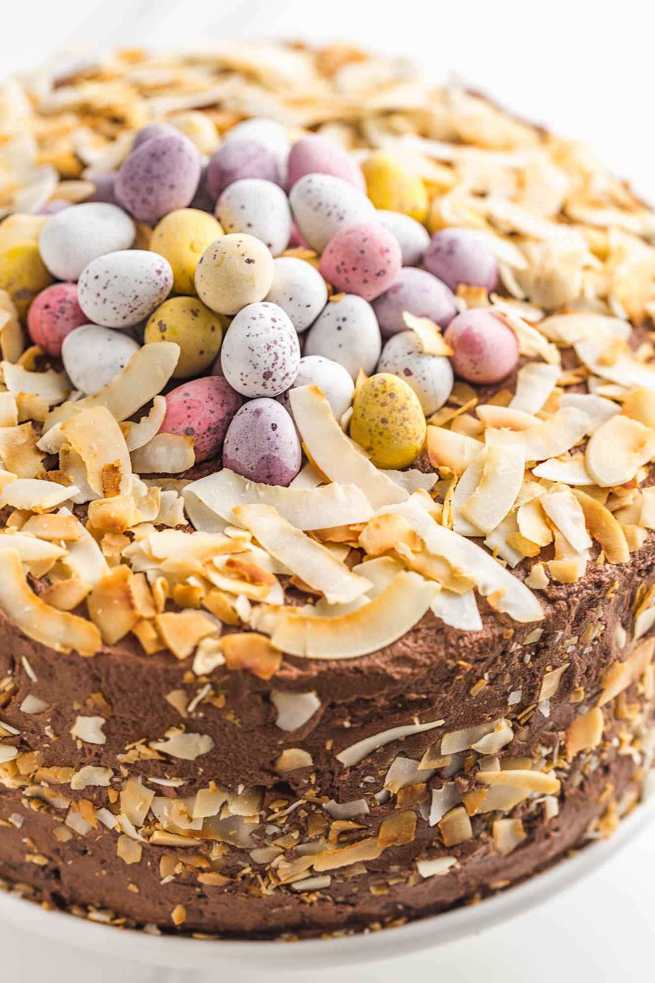 Close up shot of chocolate easter nest cake