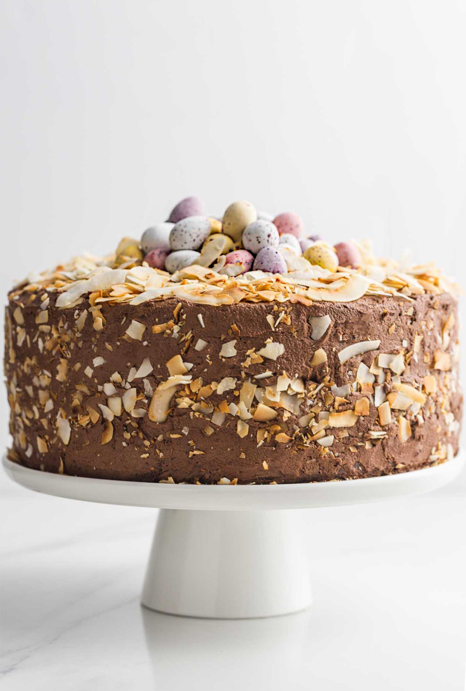 Chocolate Easter cake on a cake stand