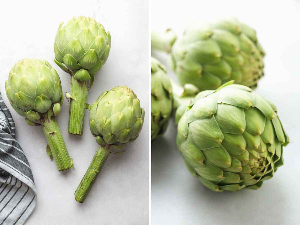 A collage with 2 images, 3 fresh artichokes.