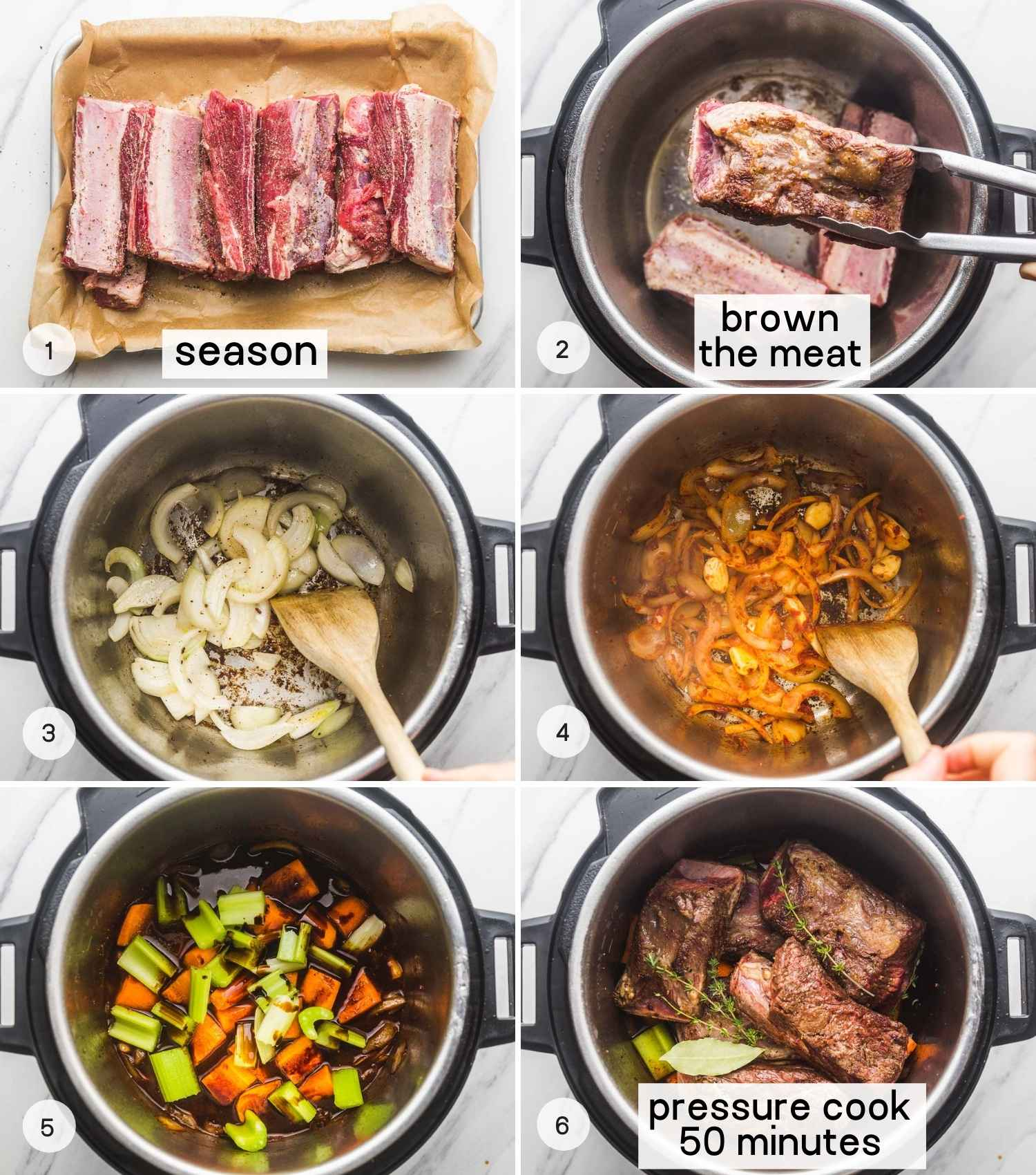 A collage with 6 images on how to make short ribs in the instant pot. From seasoning to searing, adding the rest of the ingredients and pressure cooking.