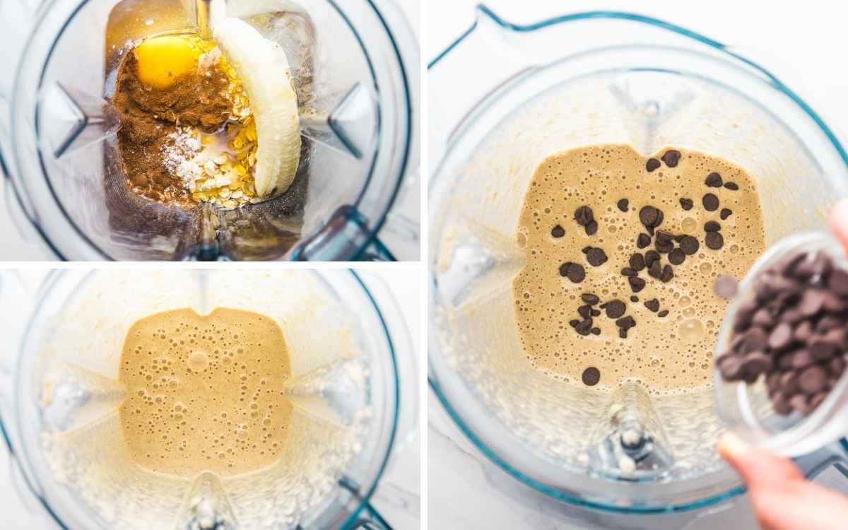 How to make blender oats, blending the ingredients and adding chocolate chips to the batter.
