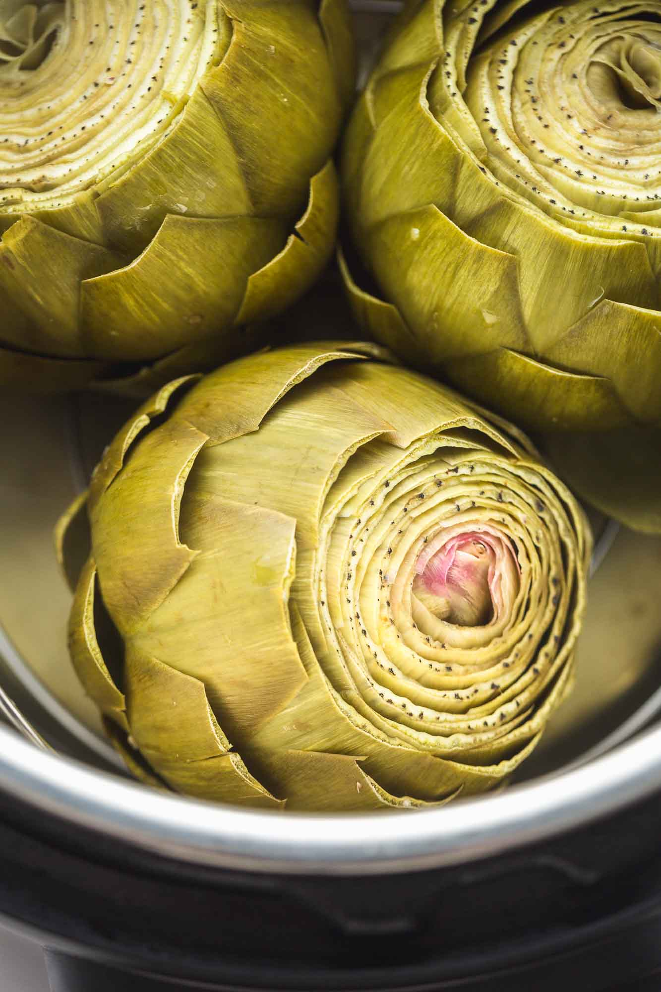 3 steamed artichokes in the Instant Pot