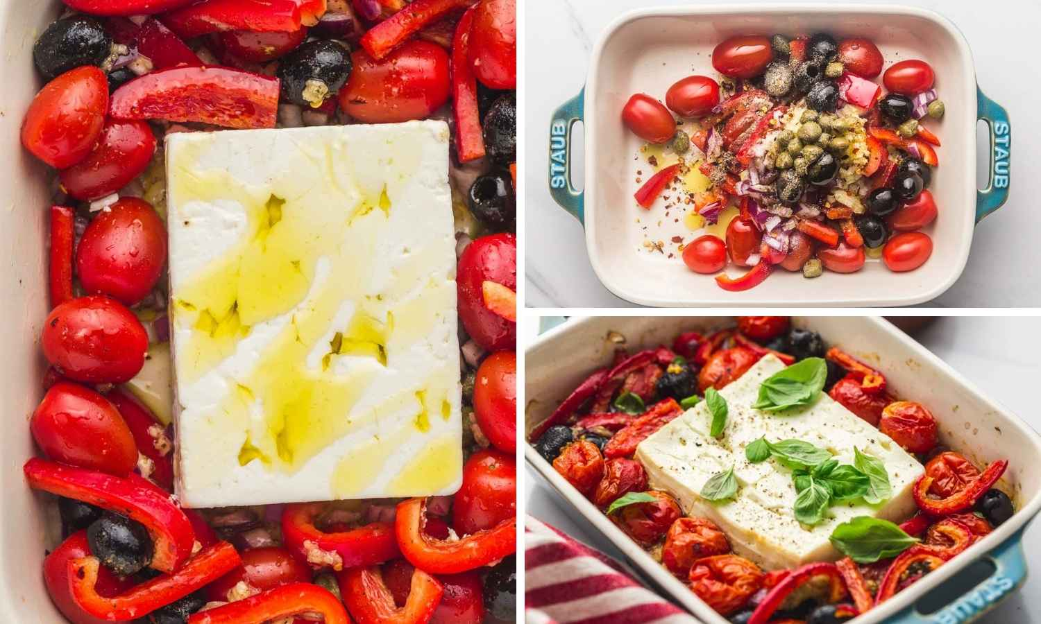 A collage with 3 images how to make baked feta dip