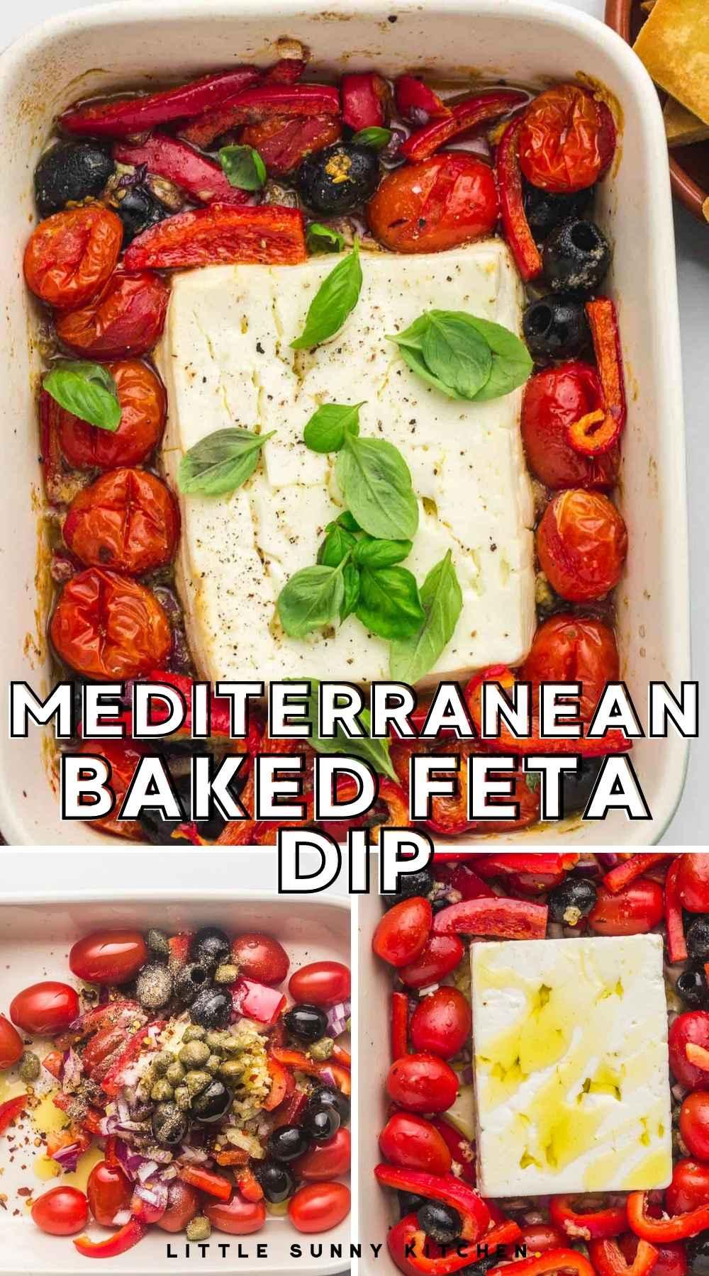 Mediterranean Baked Feta Dip pinnable image