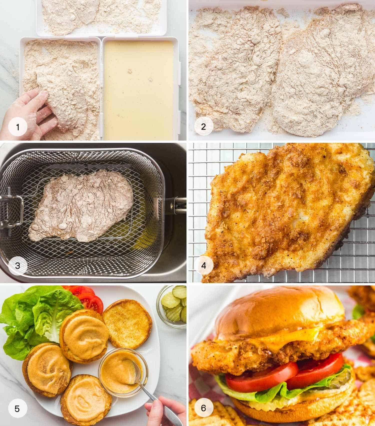 How to Make Chick-Fil-A Sandwich, a collage of 6 images showing how to bread chicken, fry it, and assemble the sandwich
