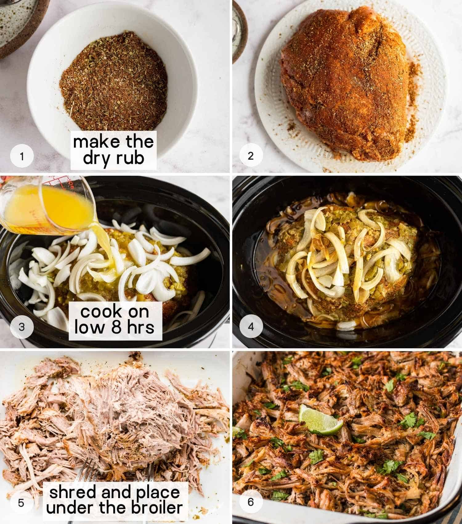 A collage of 6 images on how to make slow cooker carnitas