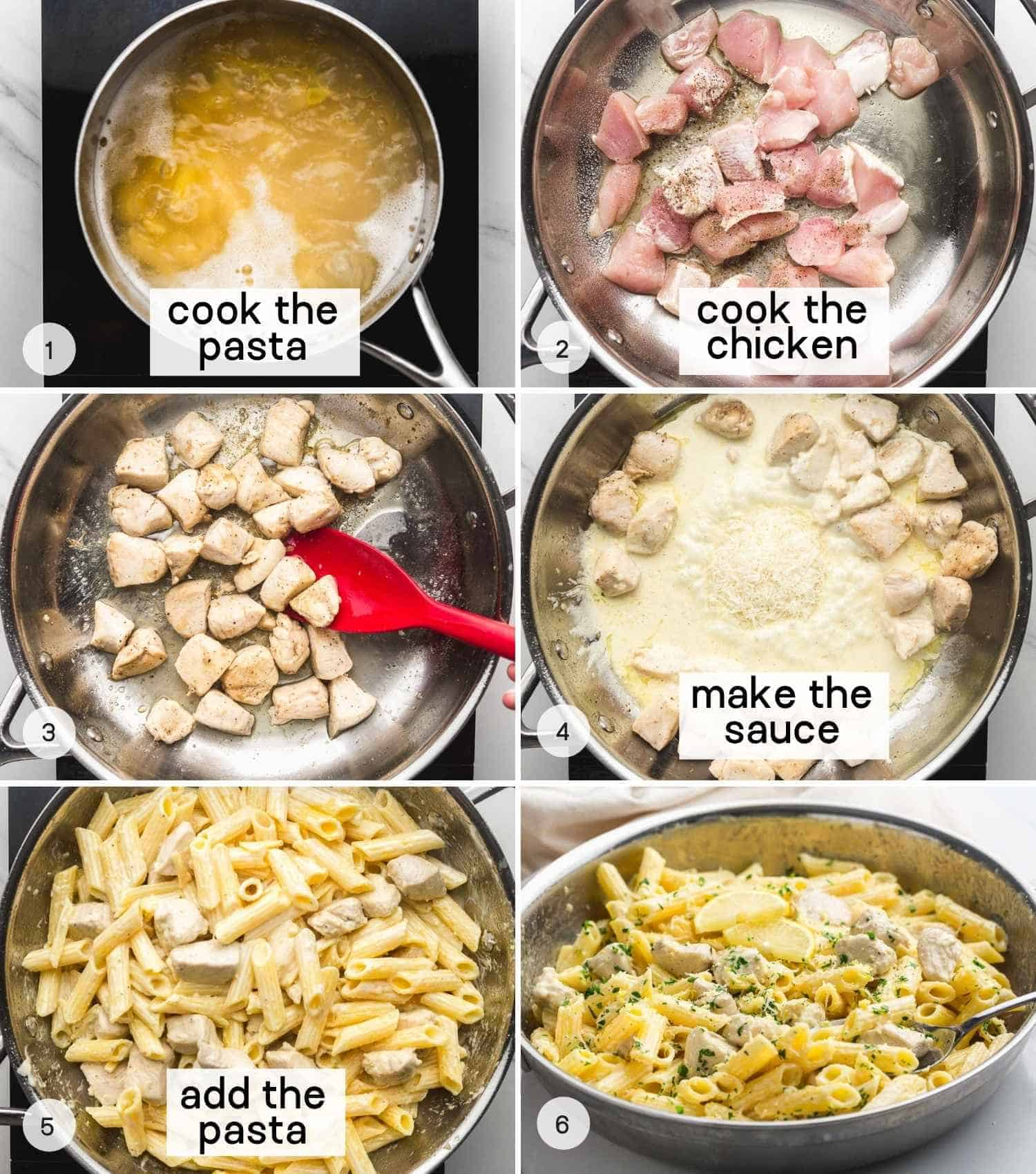 How to make Creamy Lemon Chicken Pasta, a collage with 6 images with text overlay including how to cook pasta, cook the chicken, make the sauce, and mix in the pasta to make the final dish.