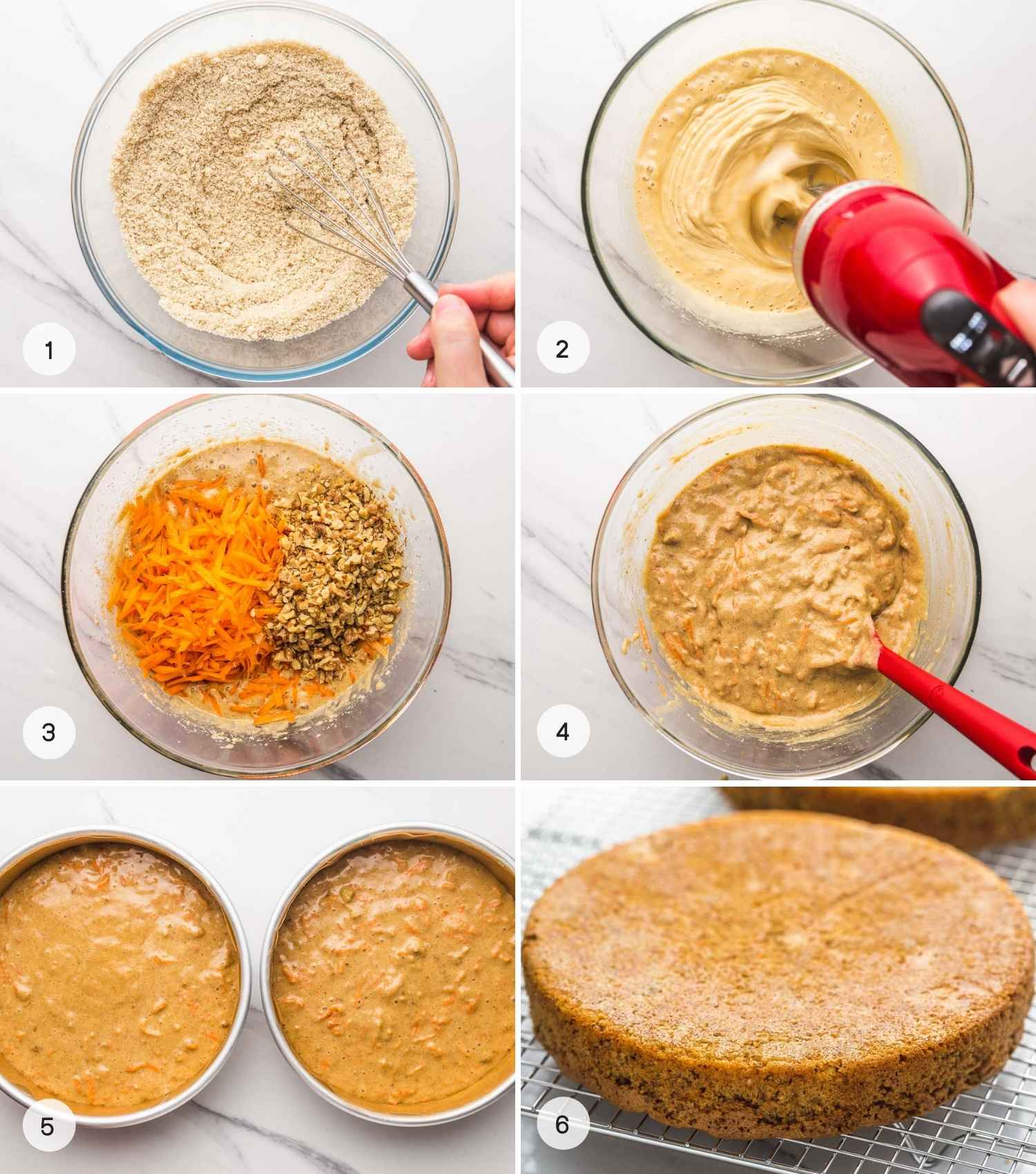 A collage with 6 images on how to make and bake gluten free carrot cake