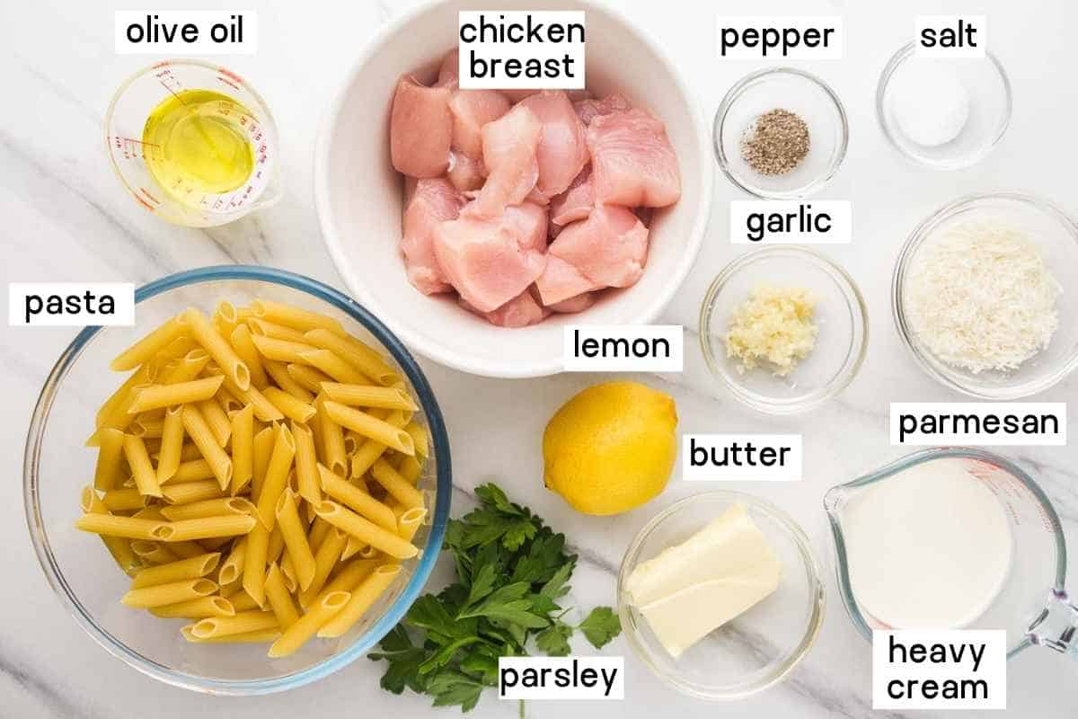 Ingredients needed to make creamy lemon chicken pasta including chicken, pasta, heavy cream, parmesan, garlic, lemon, cilantro, olive oil, salt, and pepper.